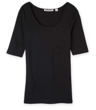 Black 3/4 sleeve scoop neck top (Woolworths)