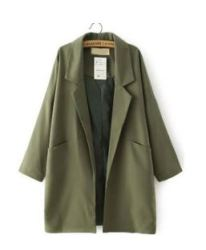 Army green loose trench coat